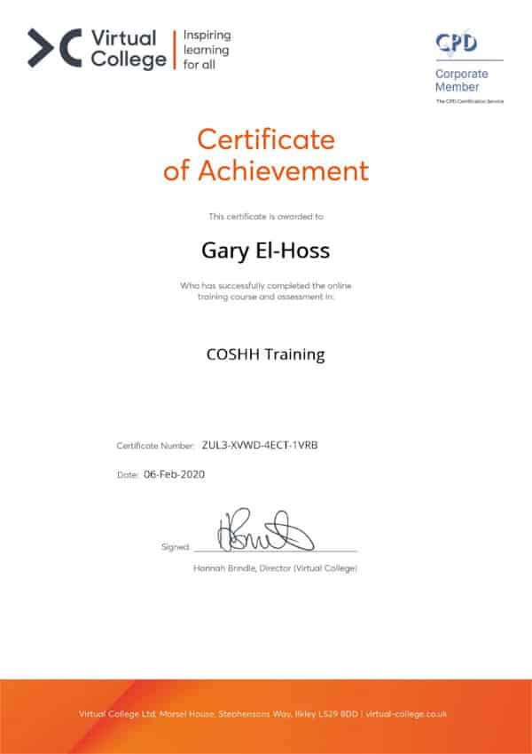 image of a certificate of achievement awarded for completing Training in COSHH
